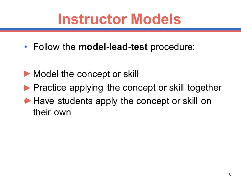 7 1. Instructor models instructional tasks when appropriate.