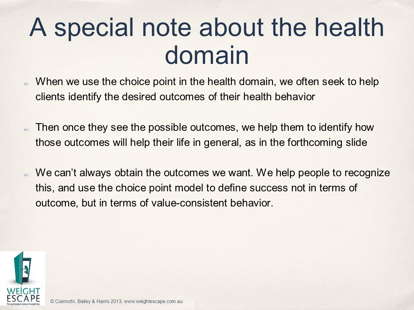A special note about the health domain ✤ When we use the choice point in the health domain, we often seek to help clients identify the desired outcome