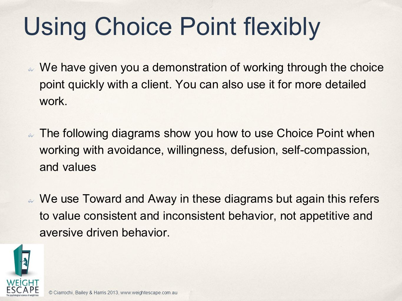 Using Choice Point flexibly ✤ We have given you a demonstration of working through the choice point quickly with a client. You can also use it for mor