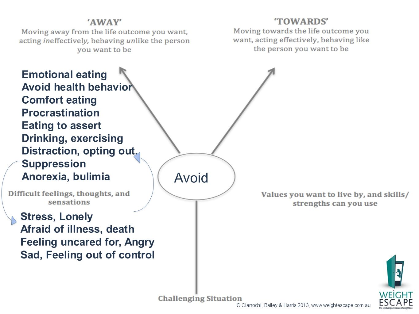 Stress, Lonely Afraid of illness, death Feeling uncared for, Angry Sad, Feeling out of control Emotional eating Avoid health behavior Comfort eating P