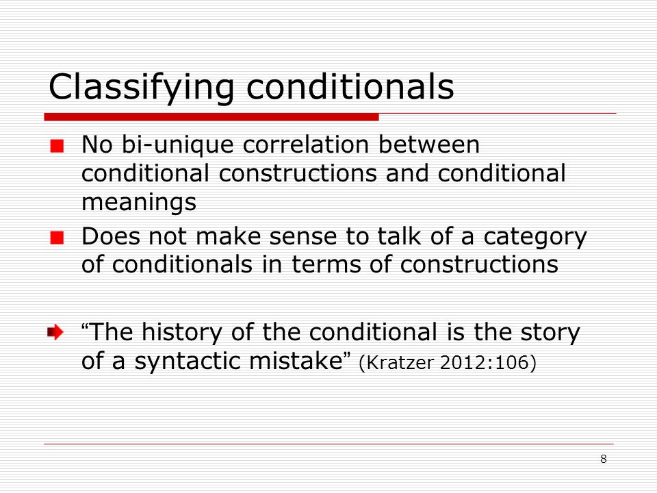 19 Discussion Utterance may have conditional LF with non-conditional primary meaning LF may be overridden to give primary meaning Constituent parts of conditional construction may be enriched/overridden giving input to non-conditional implicature
