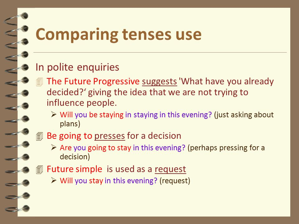 Comparing tenses use In polite enquiries 4 The Future Progressive suggests What have you already decided?' giving the idea that we are not trying to influence people.