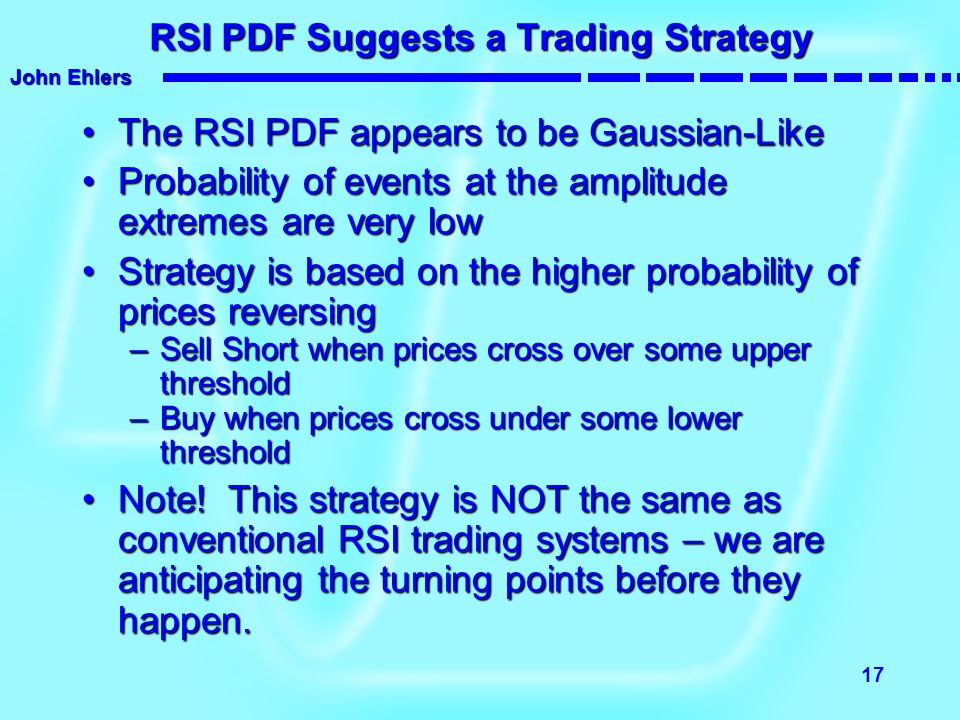 John Ehlers 17 RSI PDF Suggests a Trading Strategy The RSI PDF appears to be Gaussian-LikeThe RSI PDF appears to be Gaussian-Like Probability of event