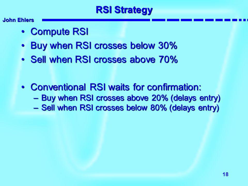 John Ehlers 18 RSI Strategy Compute RSICompute RSI Buy when RSI crosses below 30%Buy when RSI crosses below 30% Sell when RSI crosses above 70%Sell wh