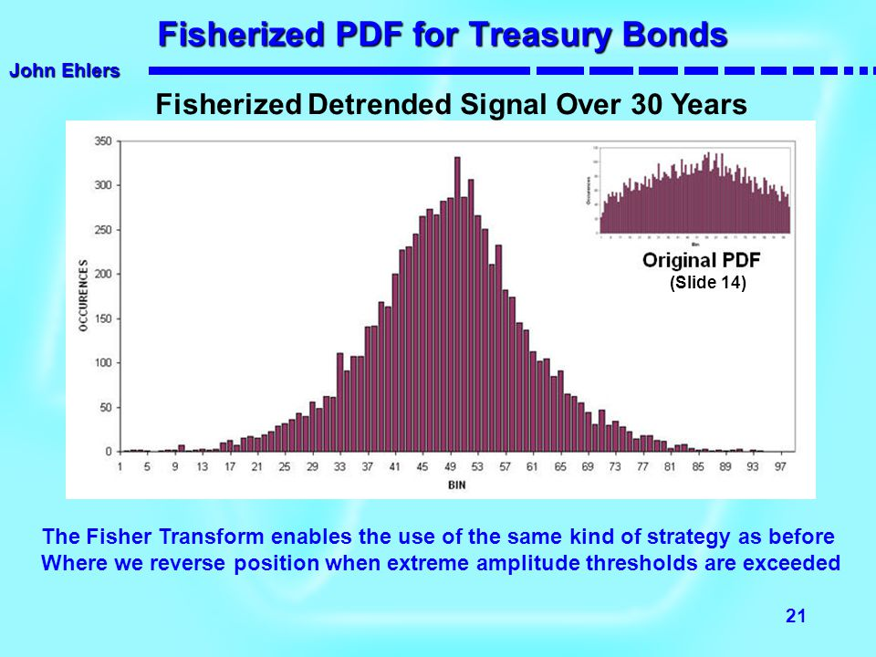 John Ehlers 21 Fisherized PDF for Treasury Bonds Fisherized PDF for Treasury Bonds Fisherized Detrended Signal Over 30 Years The Fisher Transform enab
