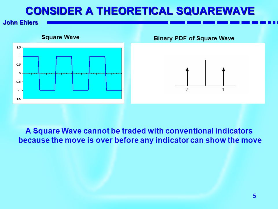 John Ehlers 6 NEXT - CONSIDER A SINEWAVE Sine Wave Sine Wave PDF The Probability Distribution of a Sinewave is similar to that of a Squarewave This is why most traders have trouble trading with cycles The cyclic turning point must be anticipated