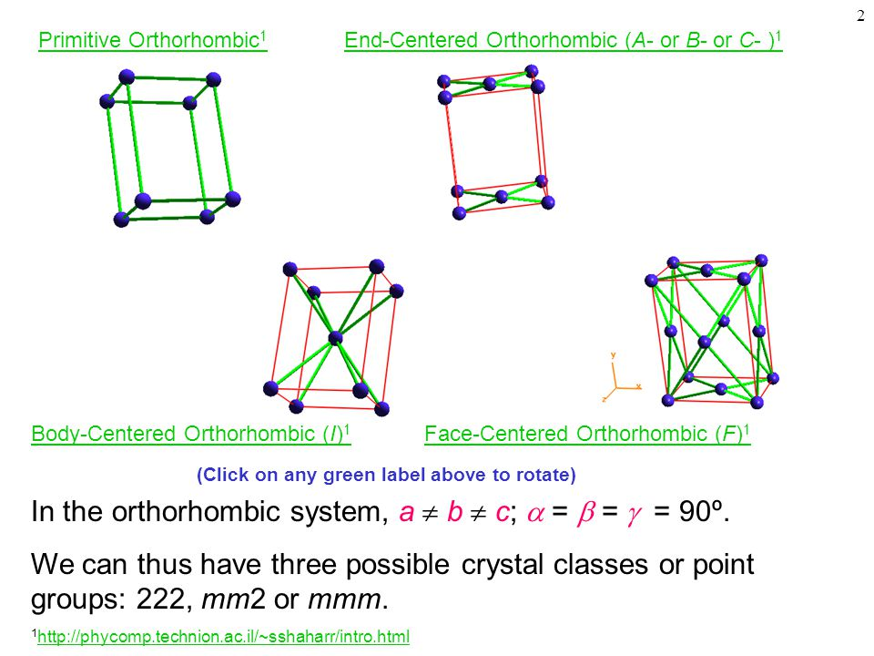 2 In the orthorhombic system, a  b  c;  =  =  = 90º.