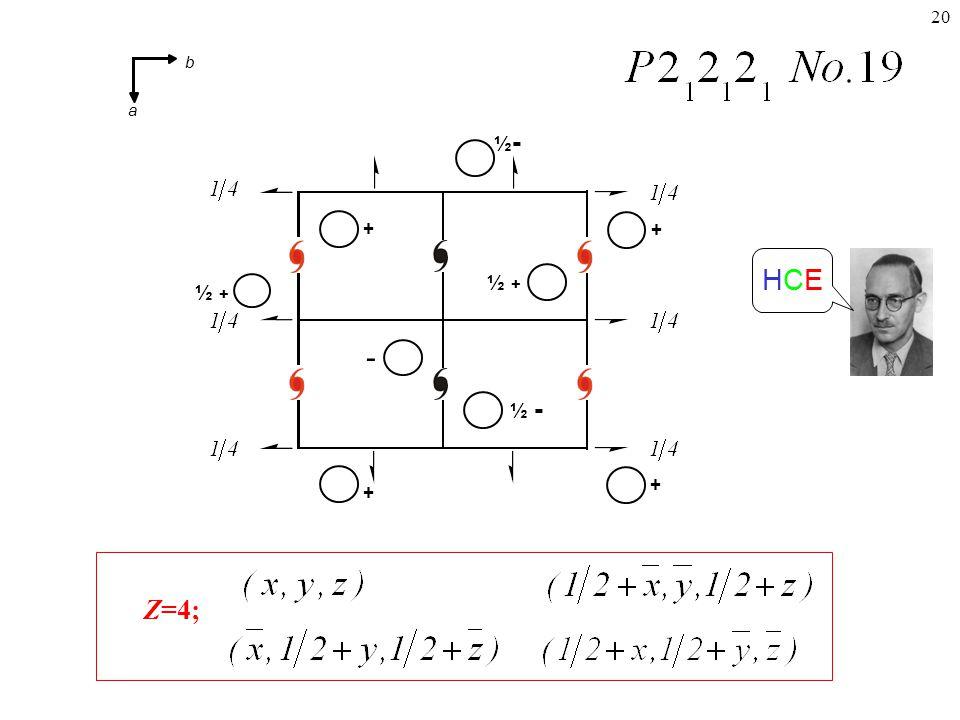 20 Z=4; HCEHCE + ½-½- ½ + ½ - ½ + + + + - b a