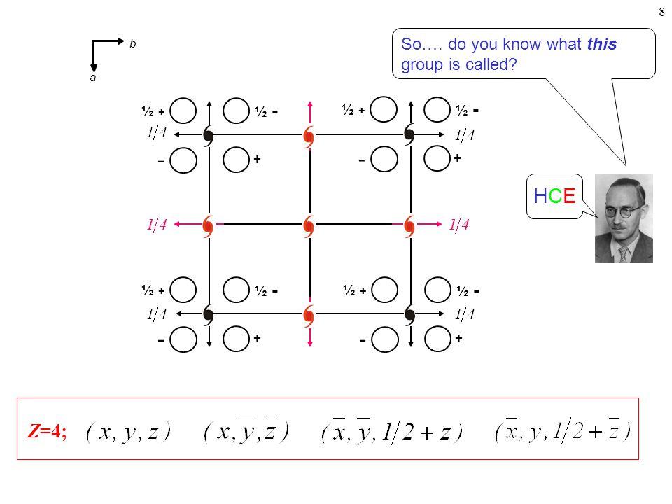 8 Z=4; HCEHCE + ½ - ½ + - + ½ - ½ + - + ½ - ½ + - + ½ - ½ + - So….