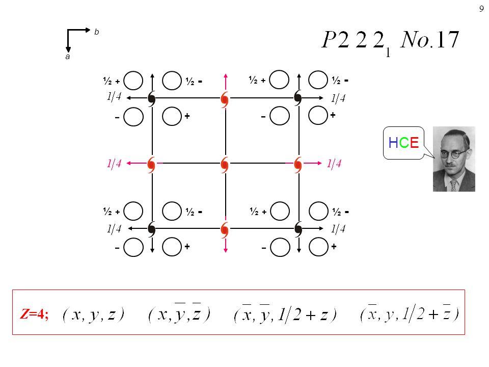 9 Z=4; HCEHCE + ½ - ½ + - + ½ - ½ + - + ½ - ½ + - + ½ - ½ + - b a