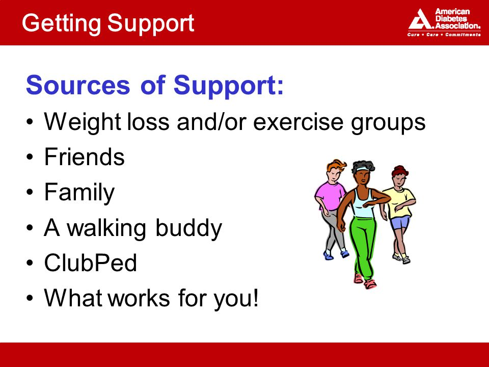 Getting Support Sources of Support: Weight loss and/or exercise groups Friends Family A walking buddy ClubPed What works for you!