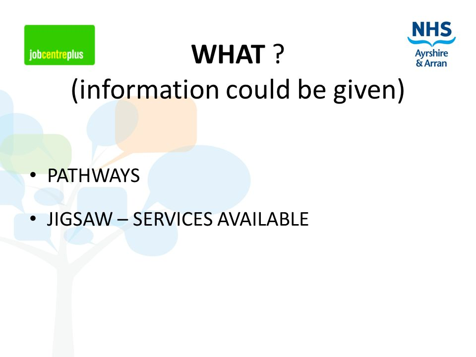 WHAT ? (information could be given) PATHWAYS JIGSAW – SERVICES AVAILABLE