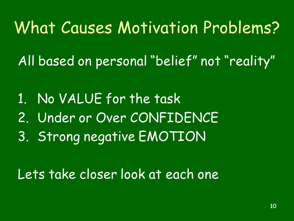 10 What Causes Motivation Problems.