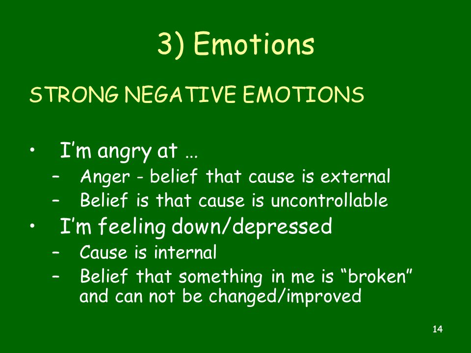 14 3) Emotions STRONG NEGATIVE EMOTIONS I'm angry at … –Anger - belief that cause is external –Belief is that cause is uncontrollable I'm feeling down/depressed –Cause is internal –Belief that something in me is broken and can not be changed/improved