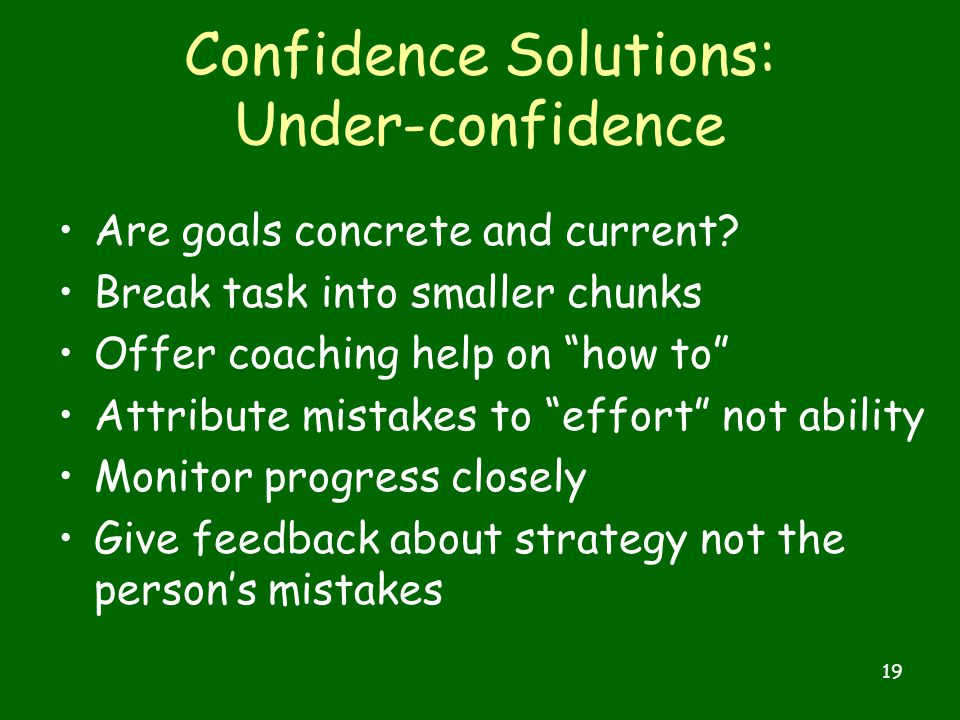 19 Confidence Solutions: Under-confidence Are goals concrete and current.