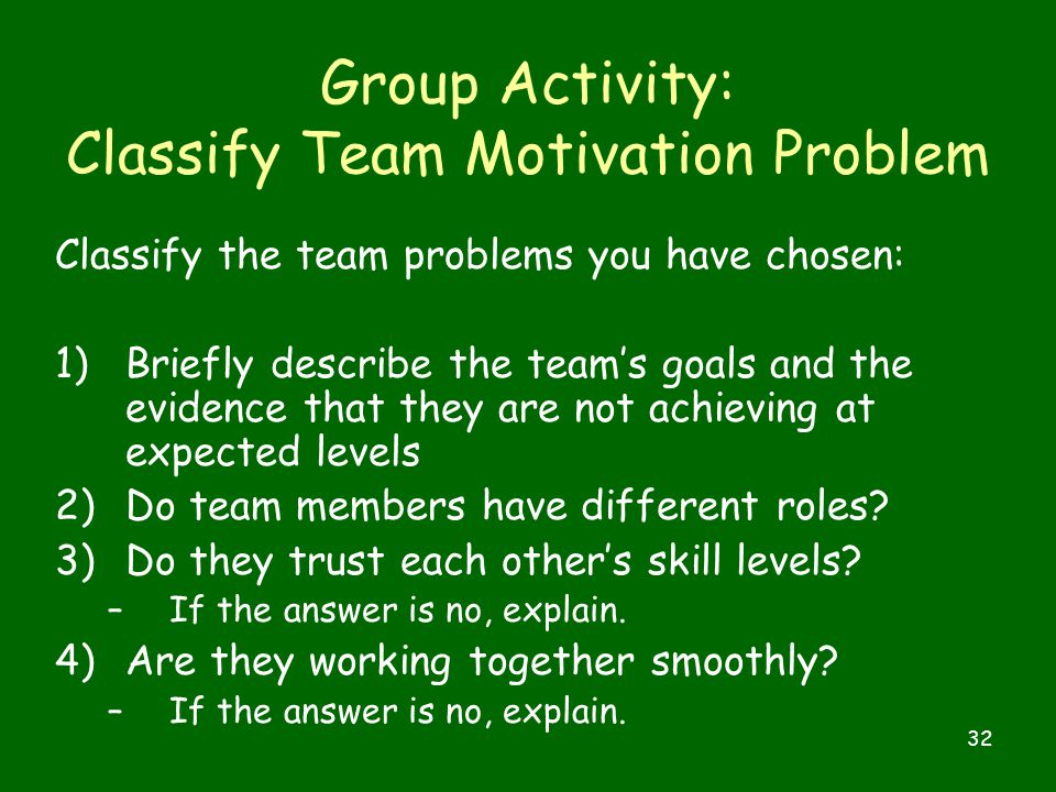 32 Group Activity: Classify Team Motivation Problem Classify the team problems you have chosen: 1)Briefly describe the team's goals and the evidence that they are not achieving at expected levels 2)Do team members have different roles.