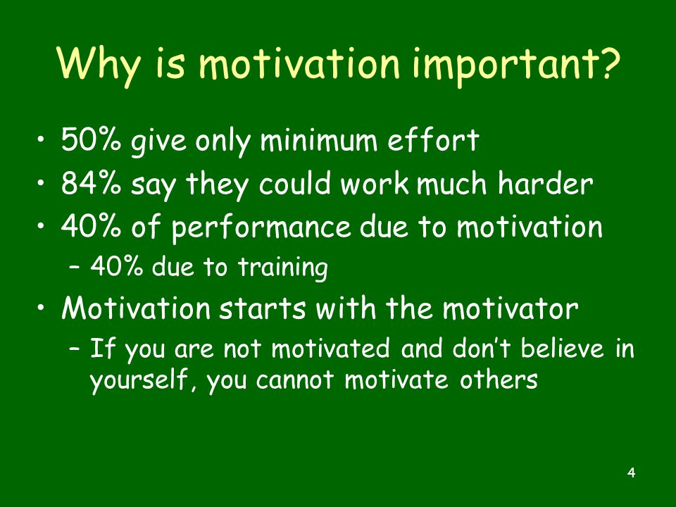 4 Why is motivation important.