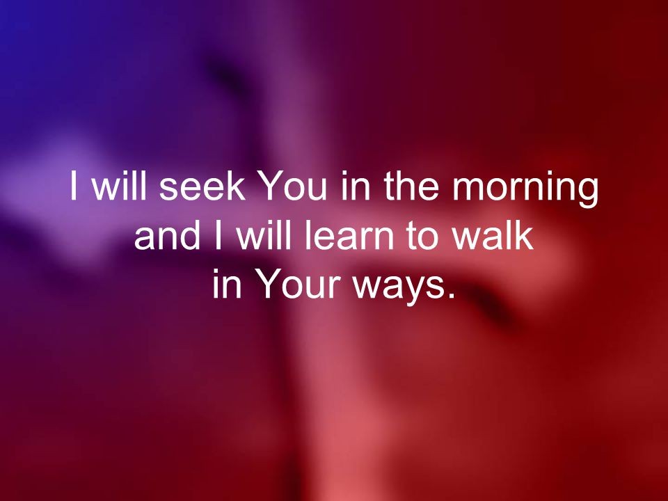 I will seek You in the morning and I will learn to walk in Your ways.