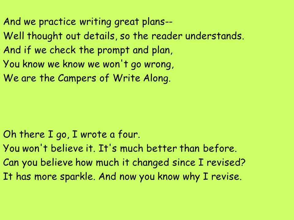 And we practice writing great plans-- Well thought out details, so the reader understands. And if we check the prompt and plan, You know we know we wo