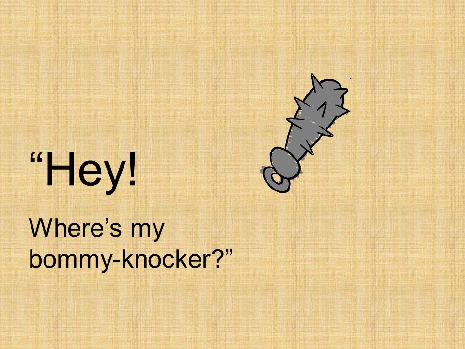 """Hey! Where's my bommy-knocker?"""