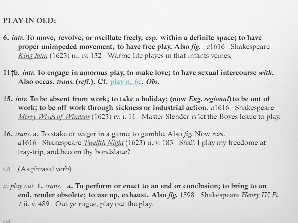 PLAY IN OED: 6. intr. To move, revolve, or oscillate freely, esp.