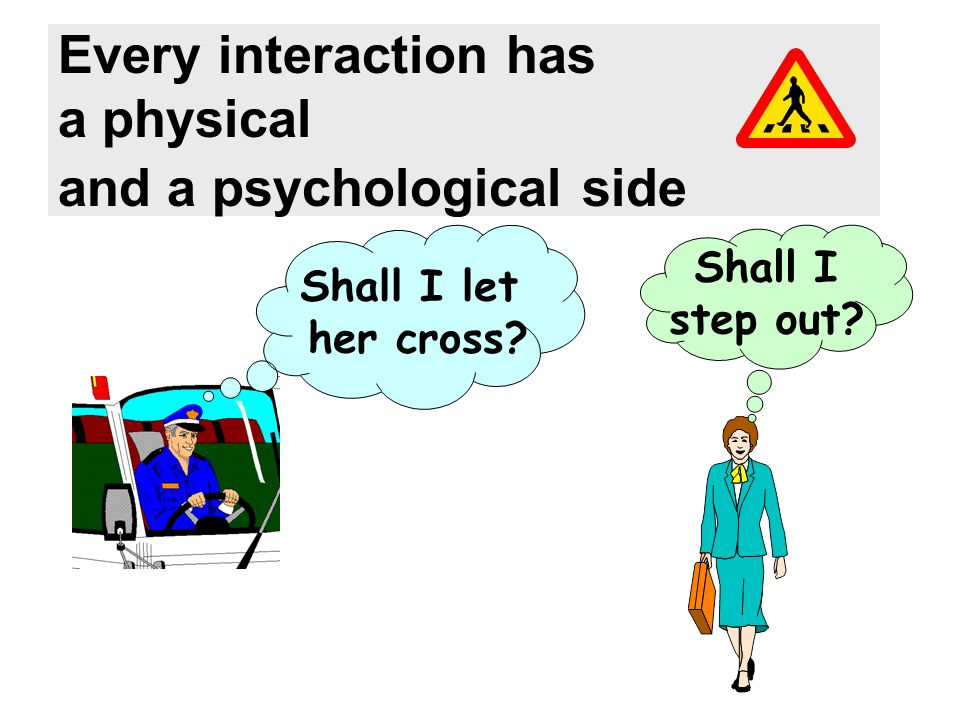 Every interaction has a physical and a psychological side Shall I let her cross? Shall I step out?