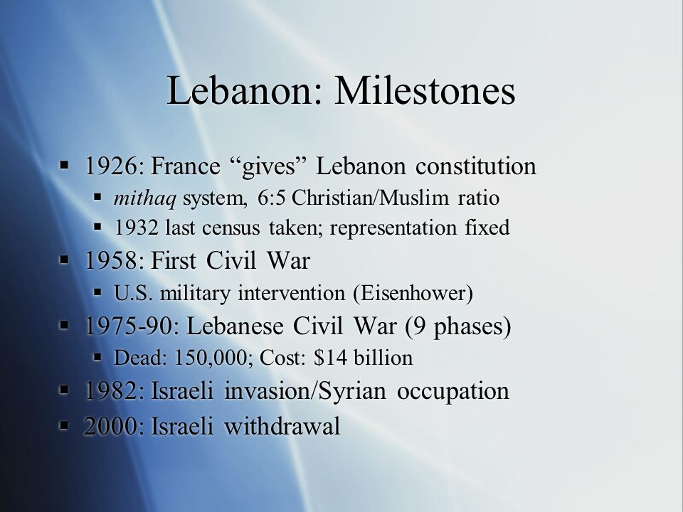 Lebanon: Milestones  1926: France gives Lebanon constitution  mithaq system, 6:5 Christian/Muslim ratio  1932 last census taken; representation fixed  1958: First Civil War  U.S.