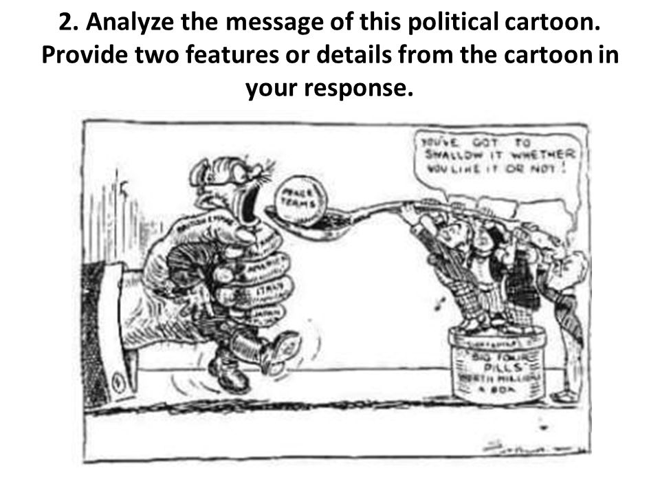 2. Analyze the message of this political cartoon. Provide two features or details from the cartoon in your response.