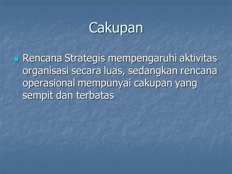 Cakupan Rencana Strategis mempengaruhi aktivitas organisasi secara luas, sedangkan rencana operasional mempunyai cakupan yang sempit dan terbatas Rencana Strategis mempengaruhi aktivitas organisasi secara luas, sedangkan rencana operasional mempunyai cakupan yang sempit dan terbatas