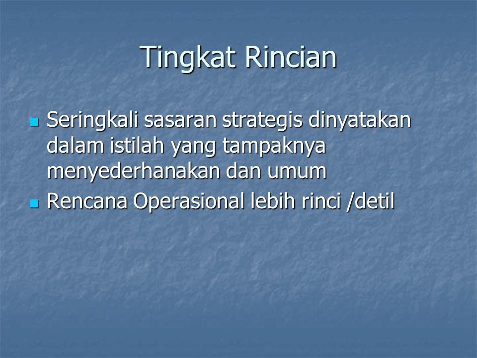 Tingkat Rincian Seringkali sasaran strategis dinyatakan dalam istilah yang tampaknya menyederhanakan dan umum Seringkali sasaran strategis dinyatakan dalam istilah yang tampaknya menyederhanakan dan umum Rencana Operasional lebih rinci /detil Rencana Operasional lebih rinci /detil