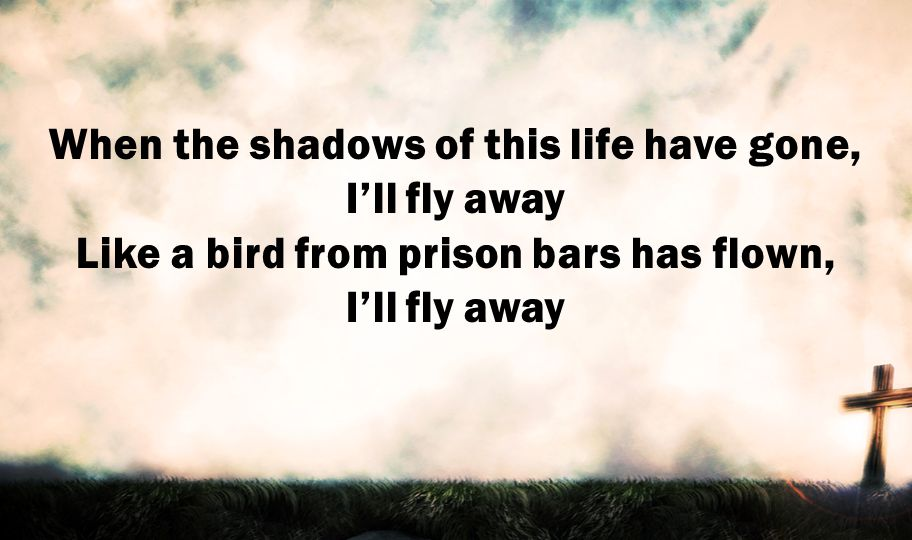 When the shadows of this life have gone, I'll fly away Like a bird from prison bars has flown, I'll fly away