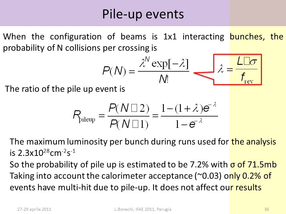 27-29 aprile 2011L.Bonechi, IFAE 2011, Perugia36 Pile-up events When the configuration of beams is 1x1 interacting bunches, the probability of N collisions per crossing is The ratio of the pile up event is The maximum luminosity per bunch during runs used for the analysis is 2.3x10 28 cm -2 s -1 So the probability of pile up is estimated to be 7.2% with σ of 71.5mb Taking into account the calorimeter acceptance (~0.03) only 0.2% of events have multi-hit due to pile-up.