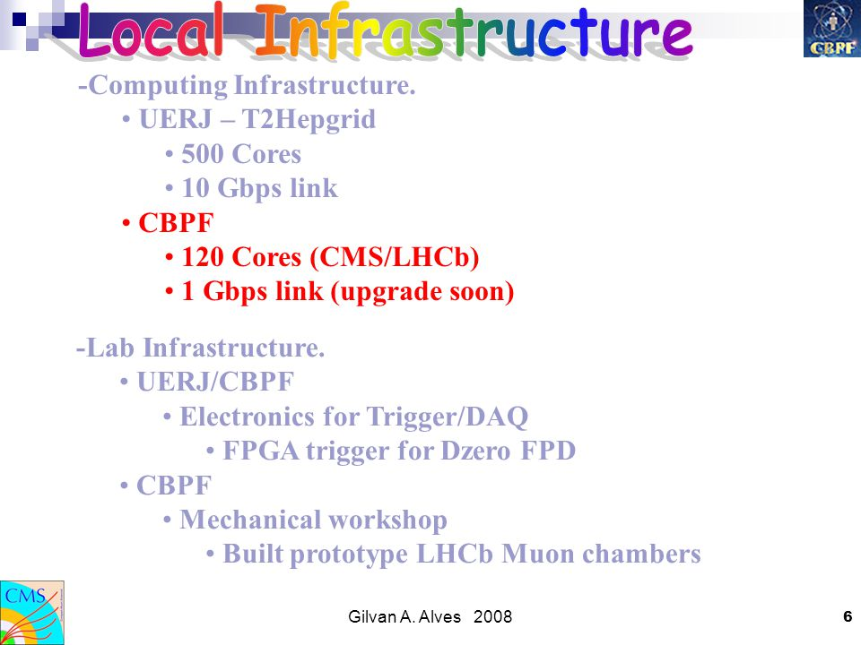 Gilvan A. Alves 2008 6 -Computing Infrastructure.