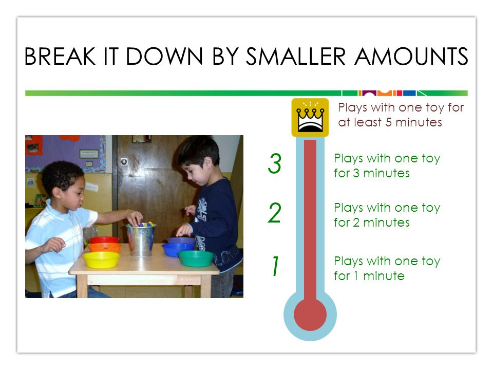 BREAK IT DOWN BY SMALLER AMOUNTS Plays with one toy for at least 5 minutes Plays with one toy for 3 minutes Plays with one toy for 2 minutes Plays with one toy for 1 minute 3 2 1