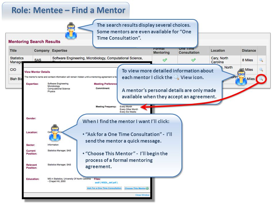 Role: Mentee – Find a Mentor > Agreement I'd like to enter a formal mentoring agreement.