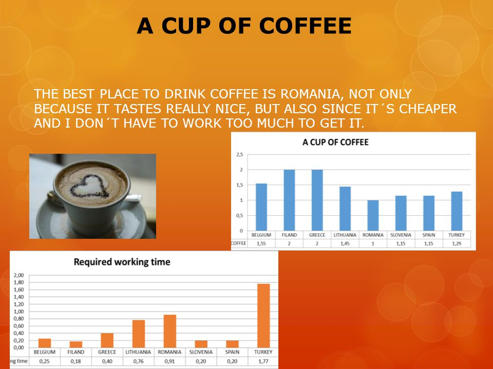 A CUP OF COFFEE THE BEST PLACE TO DRINK COFFEE IS ROMANIA, NOT ONLY BECAUSE IT TASTES REALLY NICE, BUT ALSO SINCE IT´S CHEAPER AND I DON´T HAVE TO WORK TOO MUCH TO GET IT.