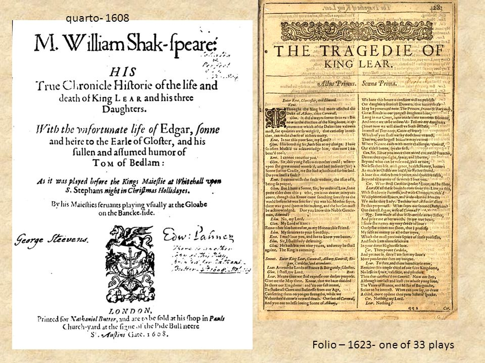 quarto- 1608 Folio – 1623- one of 33 plays