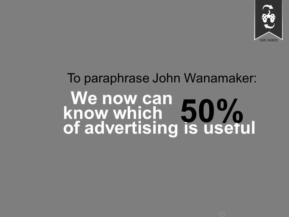 © faberNovel 2013 10 Strictement confidentiel To paraphrase John Wanamaker: We now can know which of advertising is useful 10 50%