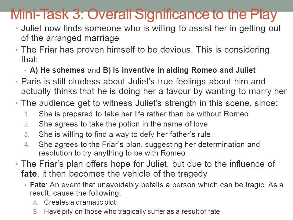 Mini-Task 4: Juliet's Reasons to Agree to the Plan 1.