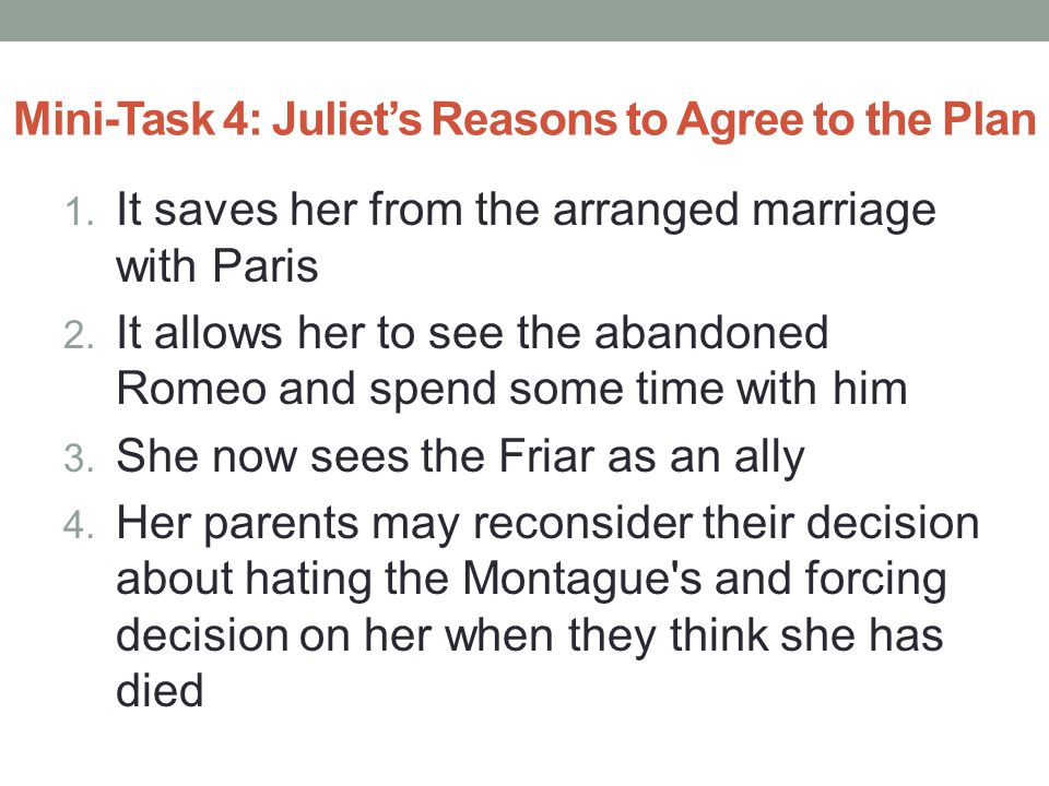 Mini-Task 5: Significant Lines from the Scene Juliet: Be not so long to speak.
