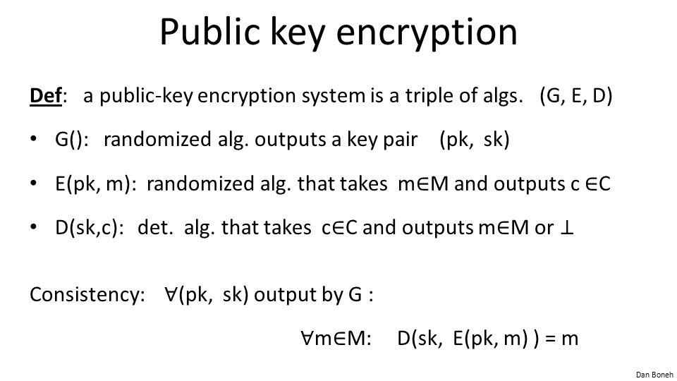Dan Boneh Public key encryption Def: a public-key encryption system is a triple of algs.