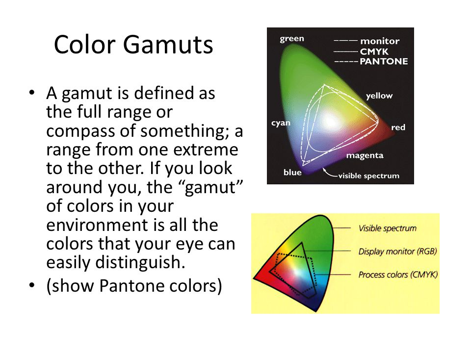 Color Gamuts A gamut is defined as the full range or compass of something; a range from one extreme to the other.