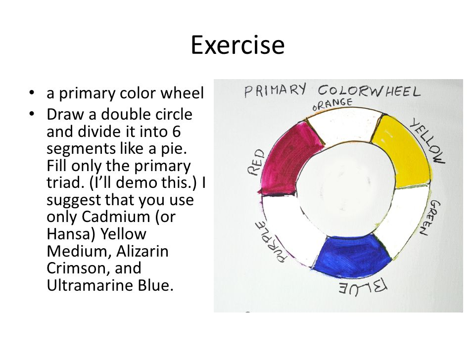 Exercise a primary color wheel Draw a double circle and divide it into 6 segments like a pie.