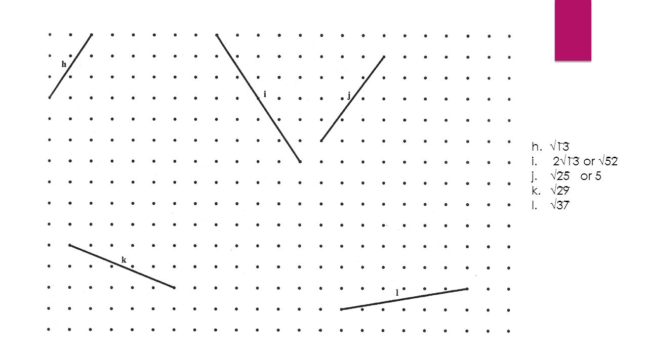 h. √1 ̅ 3 ̅ i.2√1 ̅ 3 ̅ or √5 ̅ 2 ̅ j.√2 ̅ 5 ̅ or 5 k.√2 ̅ 9 ̅ l.√3 ̅ 7 ̅