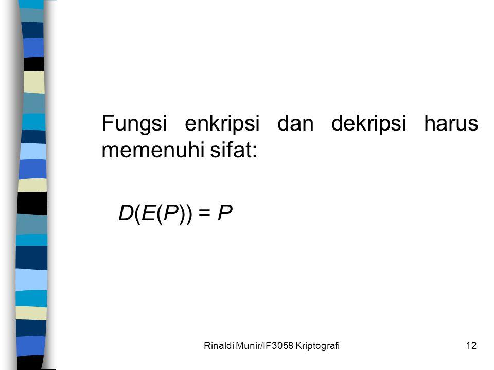 Rinaldi Munir/IF3058 Kriptografi12 Fungsi enkripsi dan dekripsi harus memenuhi sifat: D(E(P)) = P