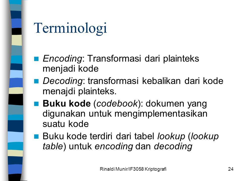 Rinaldi Munir/IF3058 Kriptografi24 Terminologi Encoding: Transformasi dari plainteks menjadi kode Decoding: transformasi kebalikan dari kode menajdi p