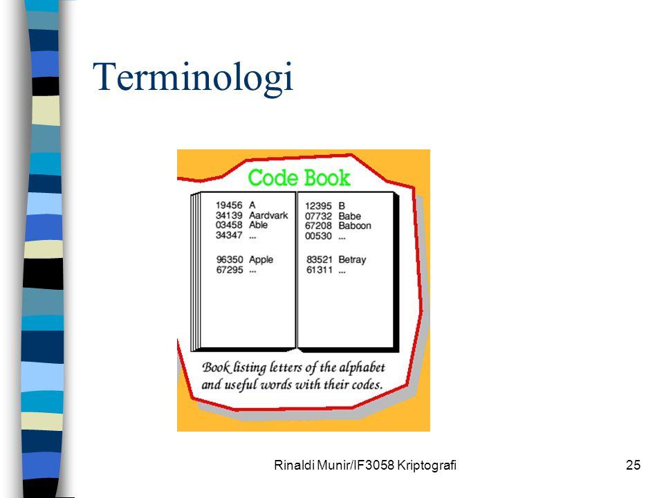 Rinaldi Munir/IF3058 Kriptografi25 Terminologi