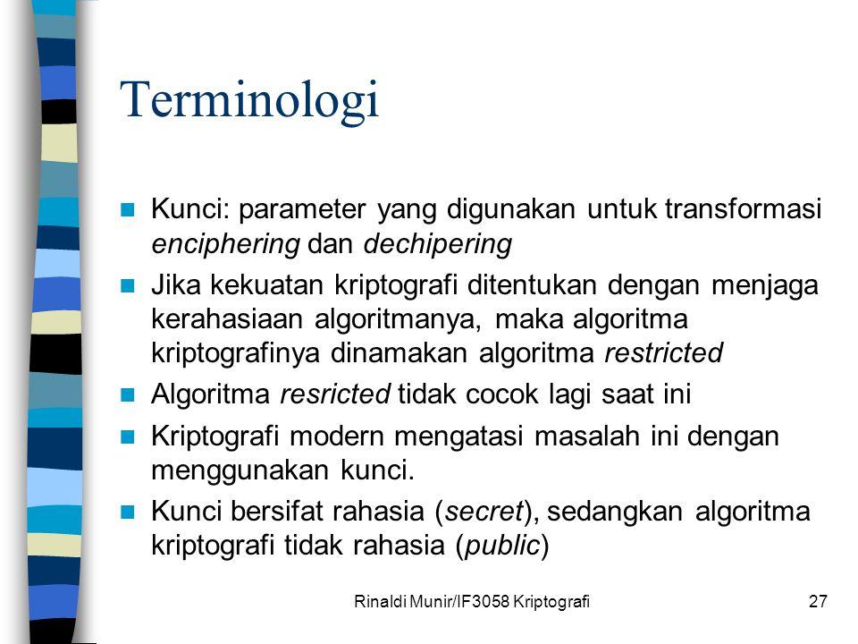 Rinaldi Munir/IF3058 Kriptografi27 Terminologi Kunci: parameter yang digunakan untuk transformasi enciphering dan dechipering Jika kekuatan kriptograf