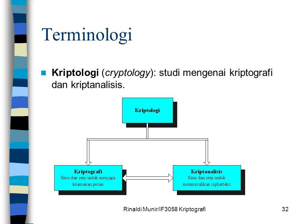 Rinaldi Munir/IF3058 Kriptografi32 Terminologi Kriptologi (cryptology): studi mengenai kriptografi dan kriptanalisis.
