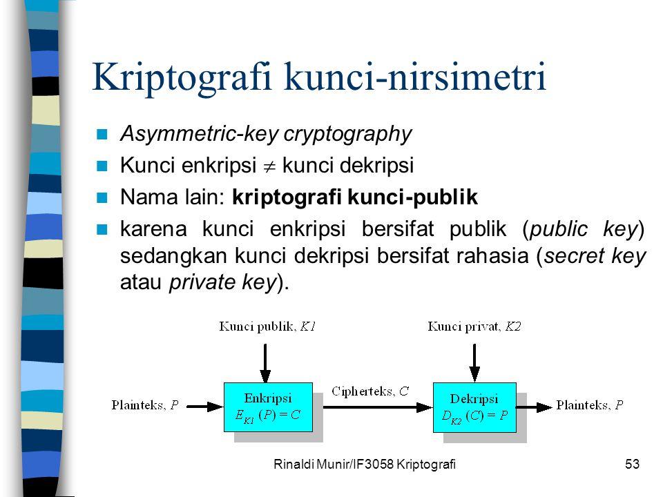 Rinaldi Munir/IF3058 Kriptografi53 Kriptografi kunci-nirsimetri Asymmetric-key cryptography Kunci enkripsi  kunci dekripsi Nama lain: kriptografi kun